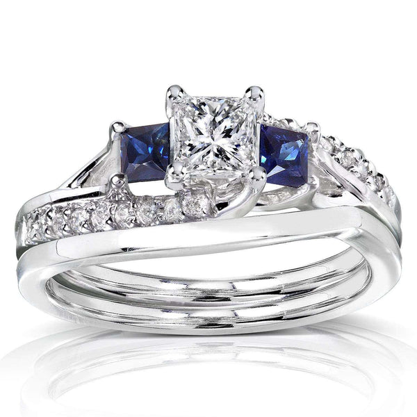 Kobelli Diamond and Sapphire Bridal Set 1 Carat (ctw) in 14K White Gold