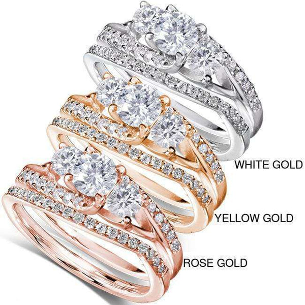Kobelli Round Diamond Bridal Set Ring 1 1/10 Carat (ctw) in 14k Gold