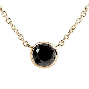 "Black Diamond Solitaire 3/4 Carat Round Bezel Necklace in 14K Gold (16"" Chain)"
