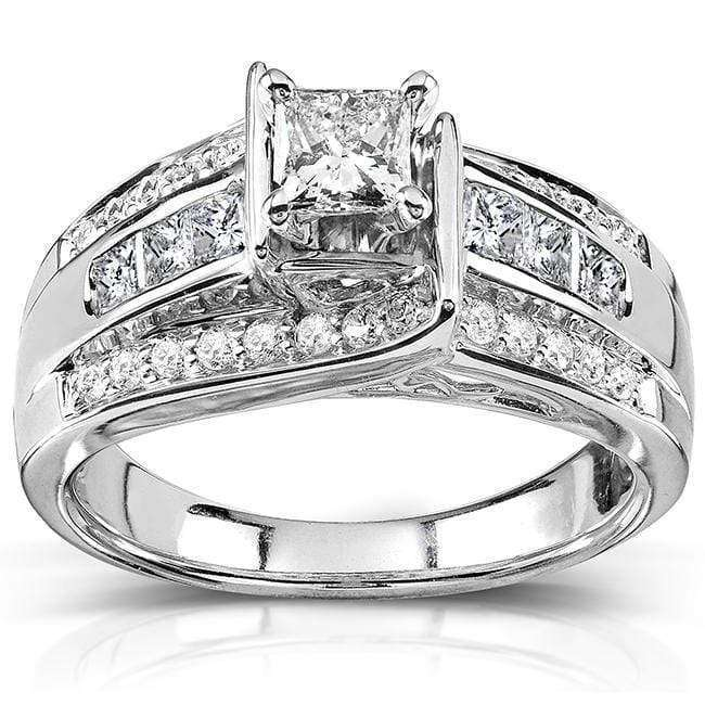 Kobelli Princess and Round Diamond Engagement Ring 7/8 Carat (ctw) in 14k White Gold