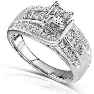 Princess and Round Diamond Engagement Ring 7/8 Carat (ctw) in 14k White Gold