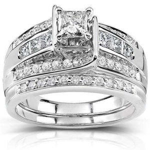 Princess and Round Diamond Bridal Set 1 Carat (ctw) in 14k White Gold