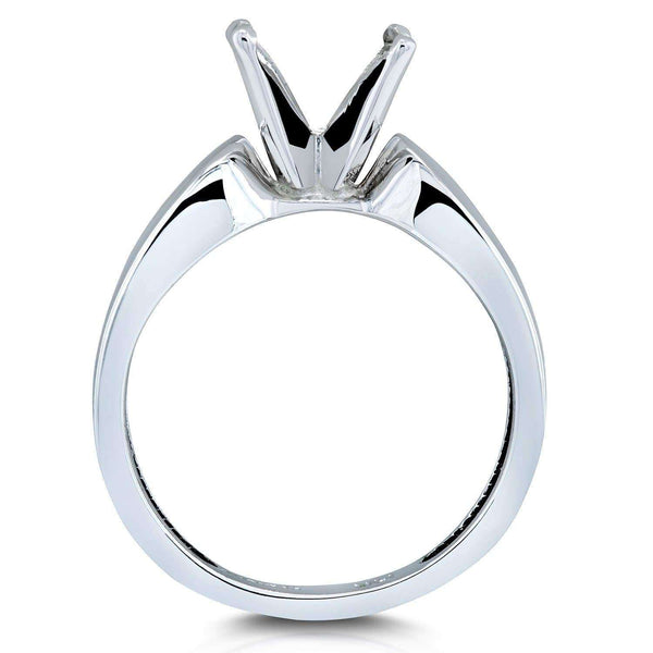 Kobelli Wide 14k White Gold Semi Mount Ring (Fits 2ct Round)