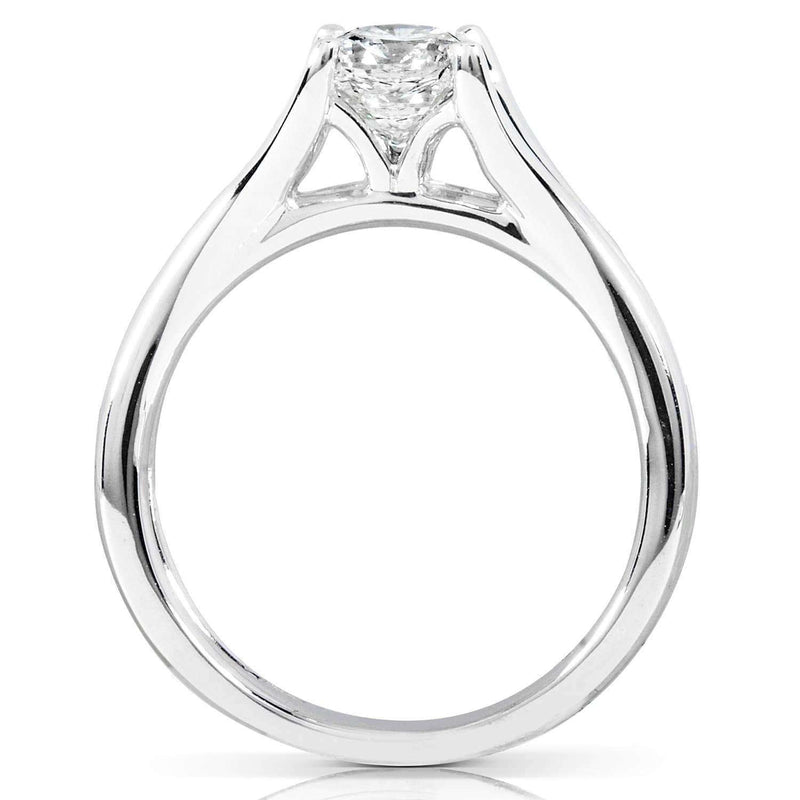 Kobelli Round Diamond Solitaire Engagement Ring 1 CTW in 14k White Gold