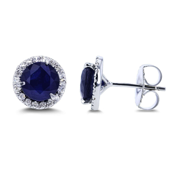 Kobelli Blue Sapphire and Diamond Stud Earrings 2 1/4 Carats TW in 14k White Gold 61750RBS-200