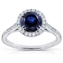 Kobelli Round Blue Sapphire Diamond Halo Engagement Ring 1 1/2ct (ctw) in 14k White Gold