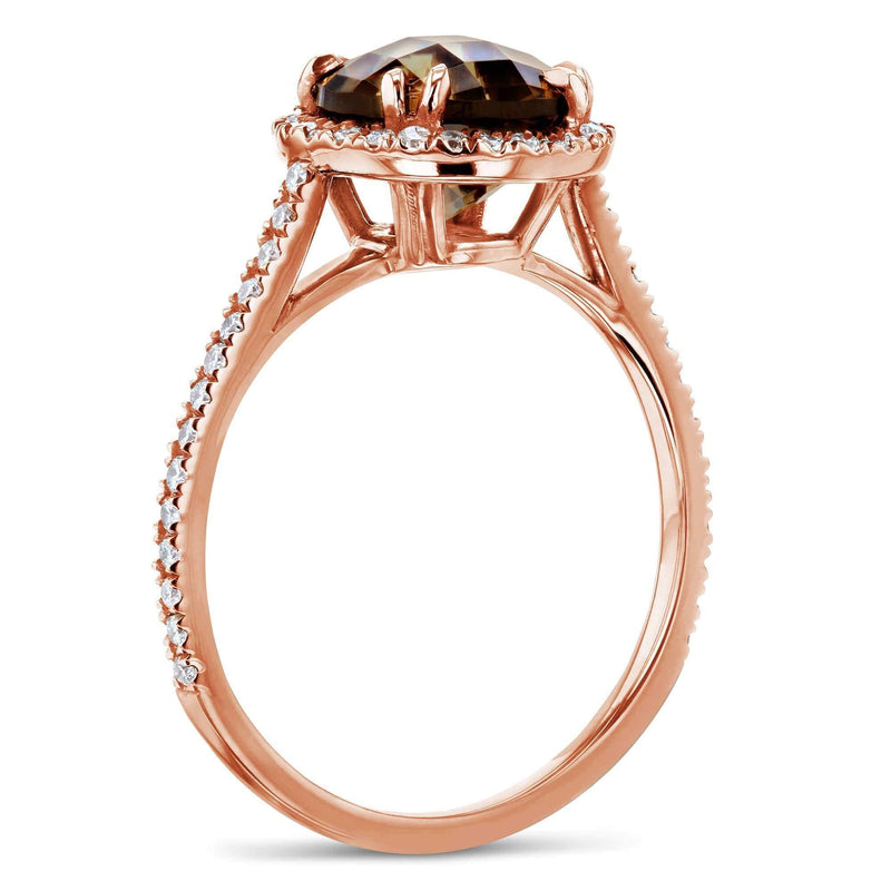 Kobelli Checkered Smokey Quartz Halo Rose Gold Ring