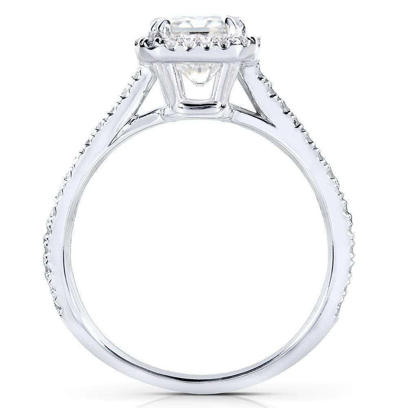 Kobelli Emerald Moissanite & Diamond Engagement Ring 1 1/4 Carat (ctw) in 14k White Gold