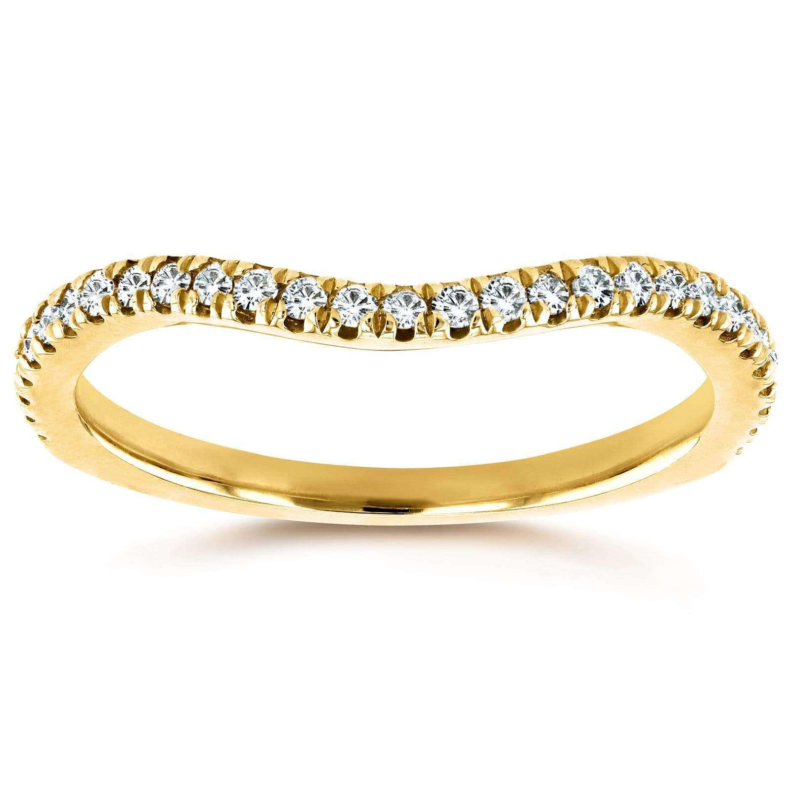 Reviews Curved Round Diamond Wedding Ring Band 1/5 CTW 14k Yellow Gold - 4.5