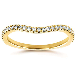 Curved Round Diamond Wedding Ring Band 1/5 CTW 14k Yellow Gold