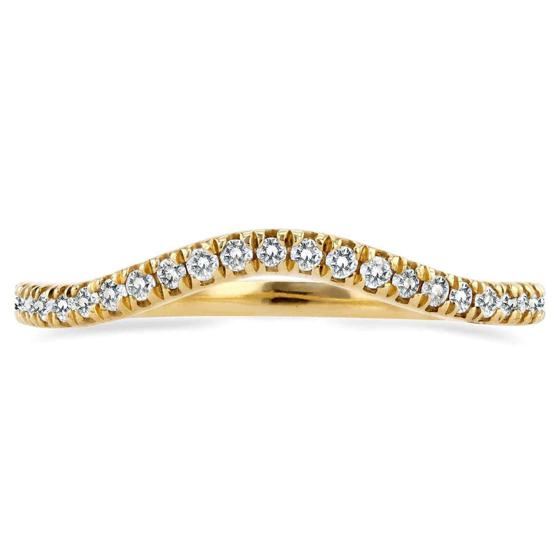 Kobelli Curved Round Diamond Wedding Ring Band 1/5 CTW 14k Yellow Gold