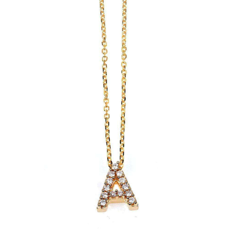 Kobelli Small A-Z Letter Diamond Pendant Gold 61787/A