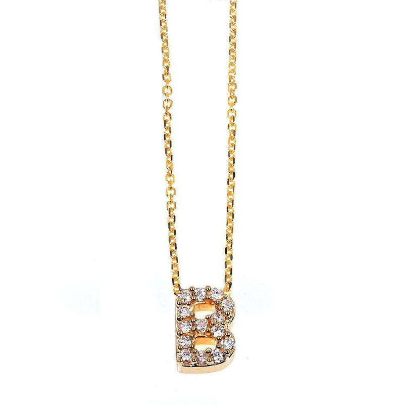 Kobelli Small A-Z Letter Diamond Pendant Gold 61787/B