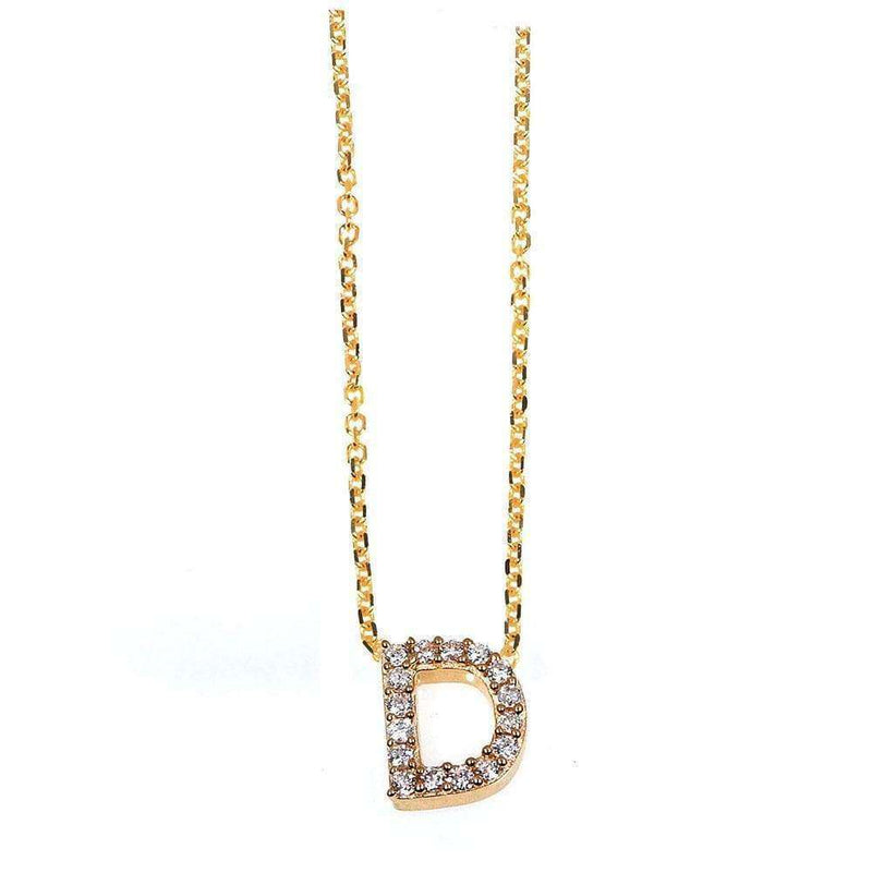 Kobelli Small A-Z Letter Diamond Pendant Gold 61787/D