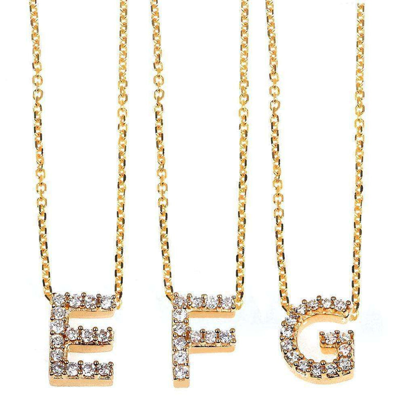 Kobelli Small A-Z Letter Diamond Pendant Gold