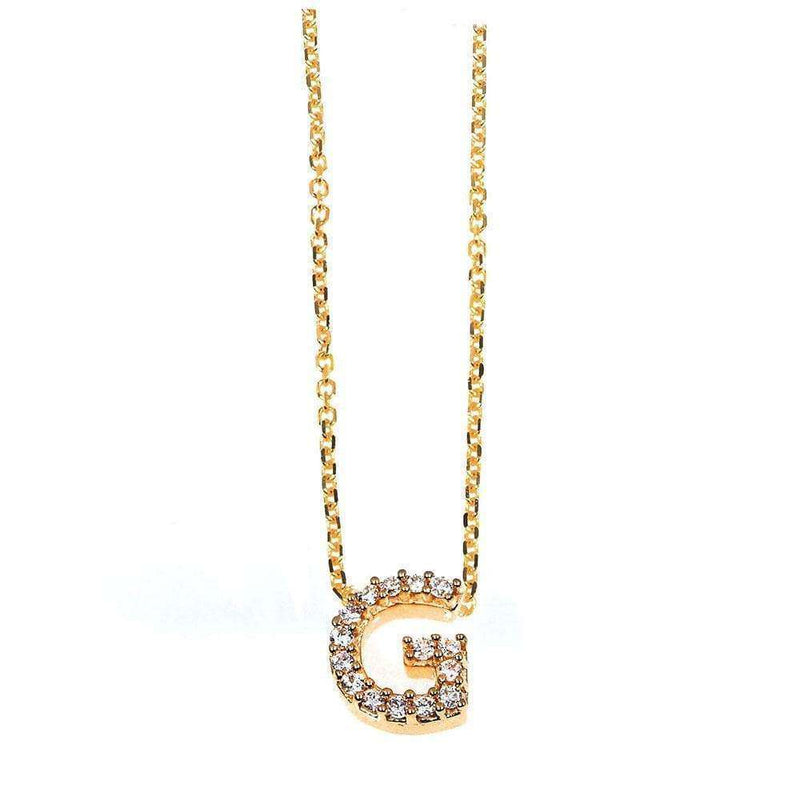 Kobelli Small A-Z Letter Diamond Pendant Gold 61787/G