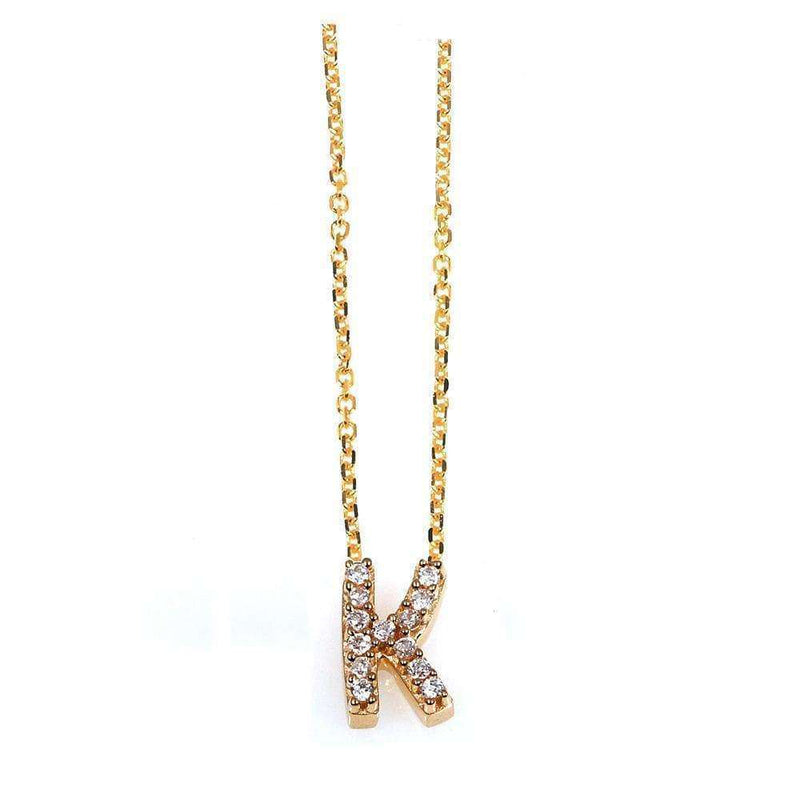 Kobelli Small A-Z Letter Diamond Pendant Gold 61787/K