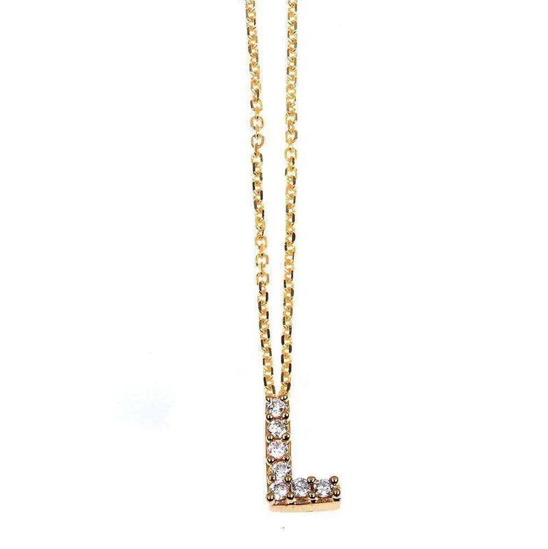 Kobelli Small A-Z Letter Diamond Pendant Gold 61787/L
