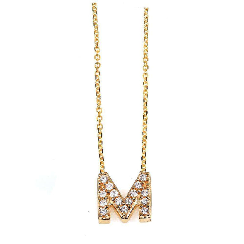 Kobelli Small A-Z Letter Diamond Pendant Gold 61787/M