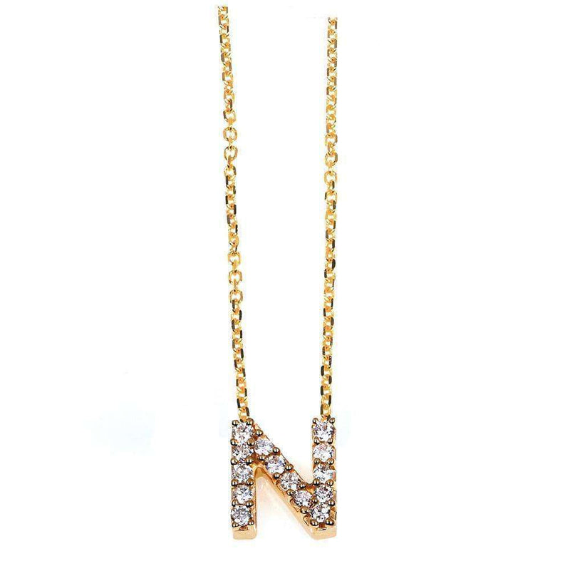 Kobelli Small A-Z Letter Diamond Pendant Gold 61787/N