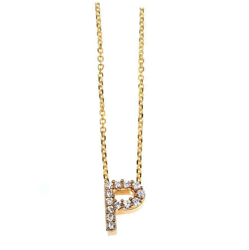 Kobelli Small A-Z Letter Diamond Pendant Gold 61787/P