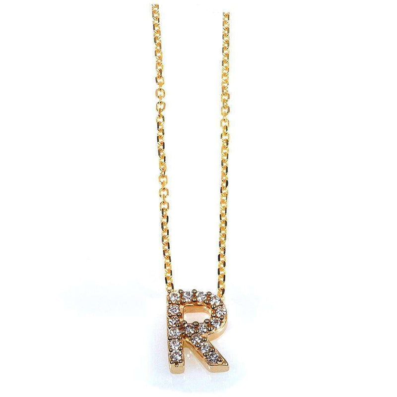 Kobelli Small A-Z Letter Diamond Pendant Gold 61787/R