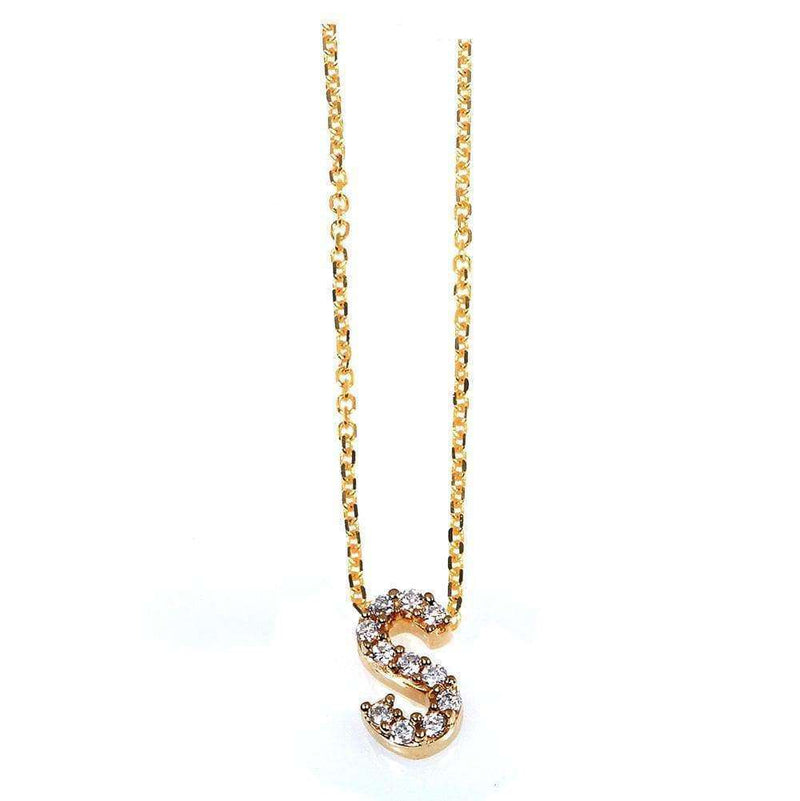 Kobelli Small A-Z Letter Diamond Pendant Gold 61787/S