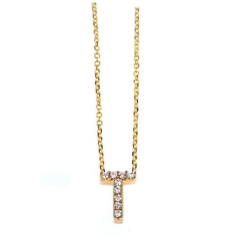 Kobelli Small A-Z Letter Diamond Pendant Gold 61787/T