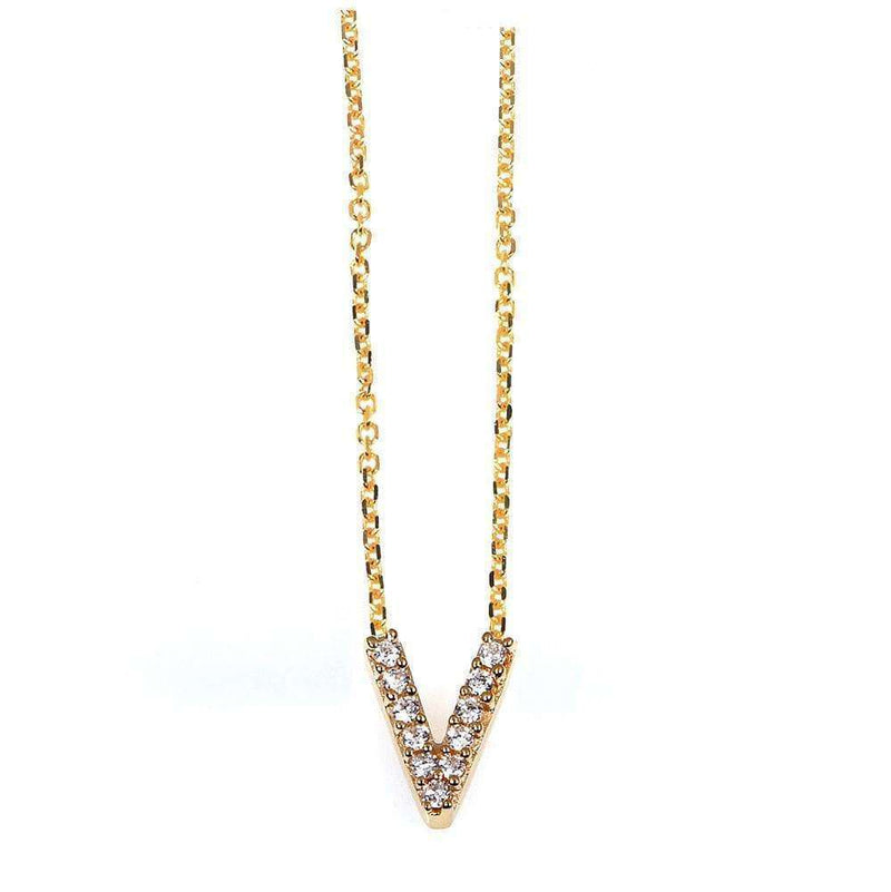 Kobelli Small A-Z Letter Diamond Pendant Gold 61787/V