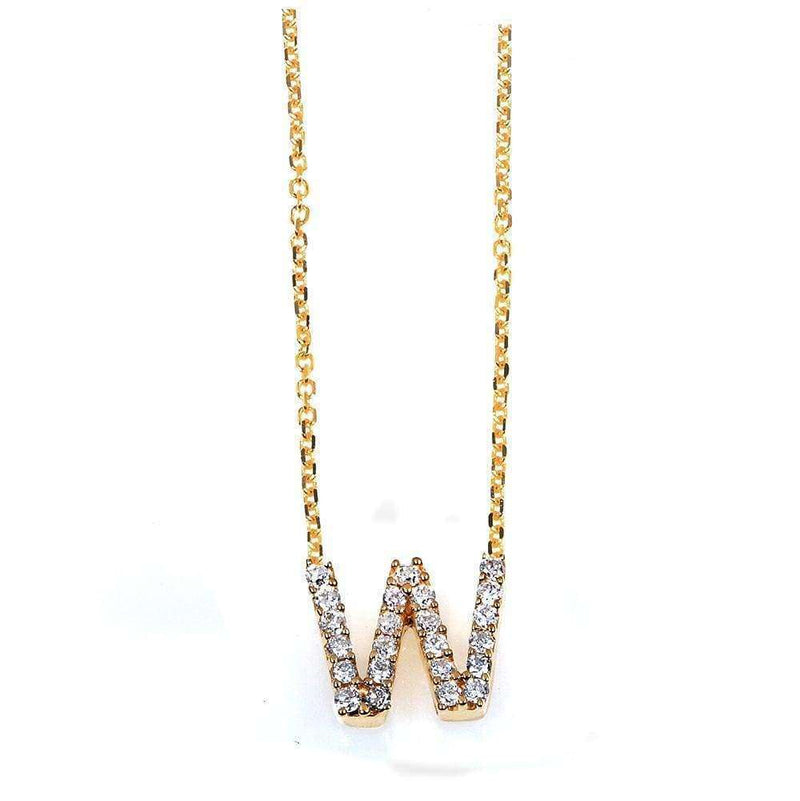 Kobelli Small A-Z Letter Diamond Pendant Gold 61787/W