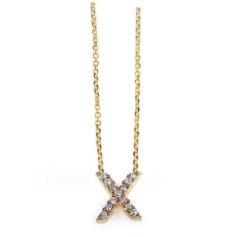 Kobelli Small A-Z Letter Diamond Pendant Gold 61787/X