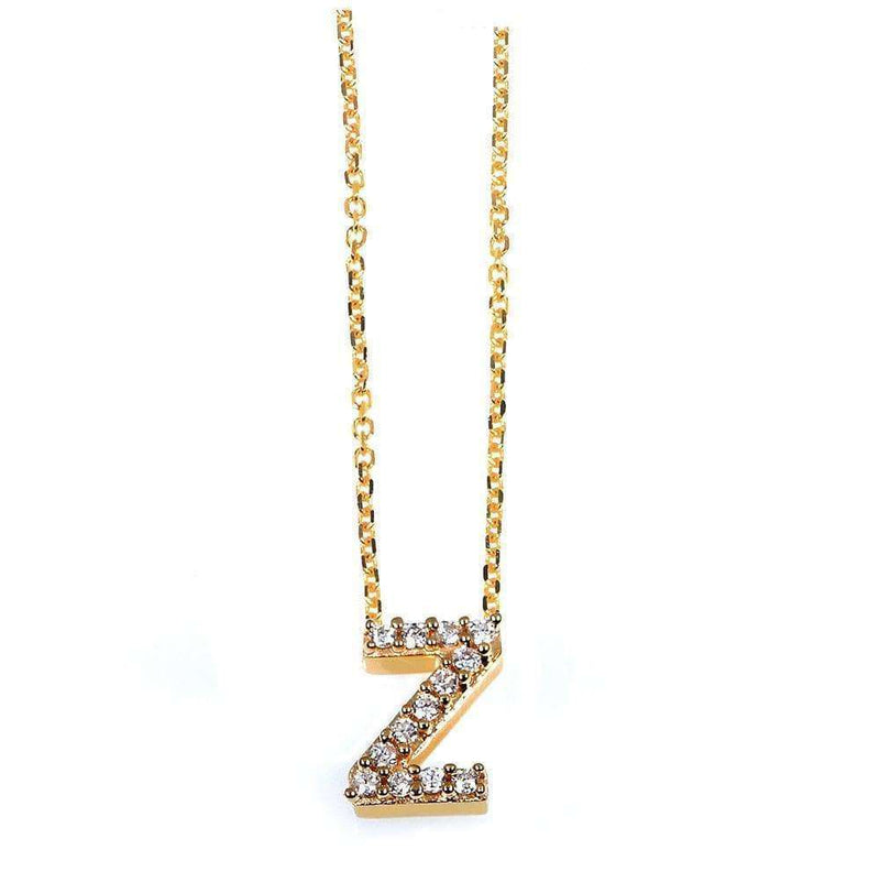 Kobelli Small A-Z Letter Diamond Pendant Gold 61787/Z