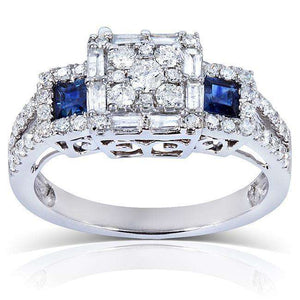 Blue Sapphire and Diamond Engagement Ring 1 1/10 Carat (ctw) in 14k White Gold