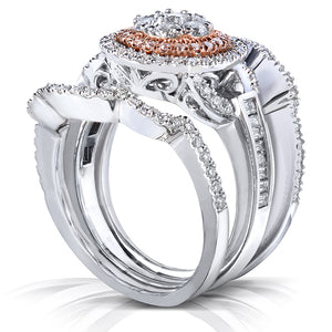 Diamond Cluster Bridal Ring Set 1 Carat (ctw) in 14k Gold