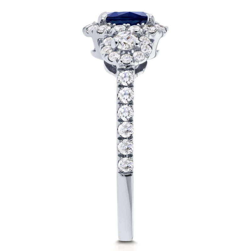 Kobelli Blue Sapphire and Diamond 3-Stone Halo 1 3/4ct Engagement Ring in 14k White Gold