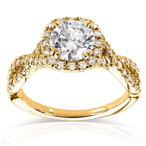 Kobelli Round Halo Style Diamond Engagement Ring 1 1/2 CTW in 14k Yellow Gold