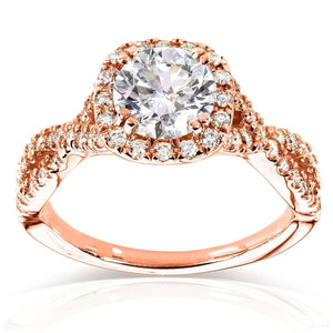 Kobelli Round Halo Style Diamond Engagement Ring 1 1/2 CTW in 14k Rose Gold
