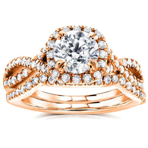 Kobelli Round Halo Style Diamond Braided Bridal Set 1 3/4 CTW in 14k Rose Gold