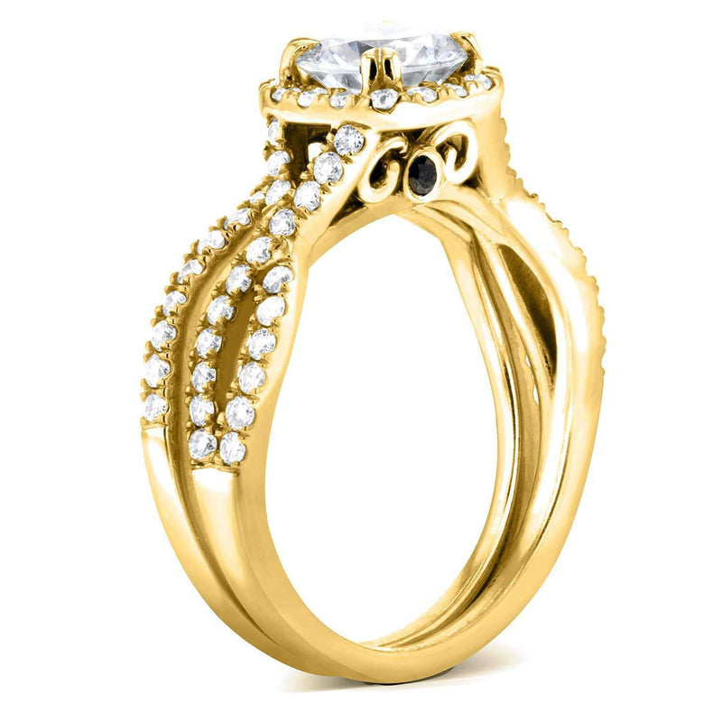 Kobelli Round Halo Style Diamond Braided Bridal Set 1 3/4 CTW in 14k Yellow Gold
