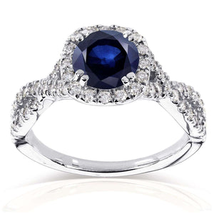 Sapphire and Black and White Diamond Ring 1 1/2 CTW in 14k White Gold