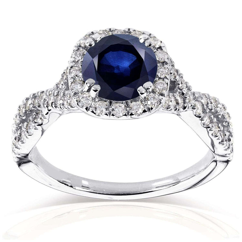 Kobelli Sapphire and Black and White Diamond Ring 1 1/2 CTW in 14k White Gold