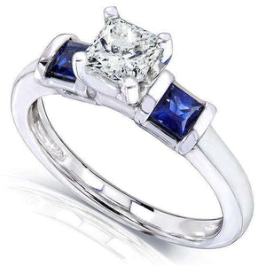 Blue Sapphire and Diamond Engagement Ring 1 Carat (ctw) In 14k White Gold