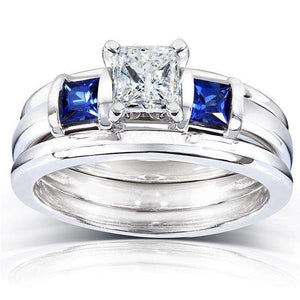 Blue Sapphire and Diamond Bridal Ring Set 1 Carat (ctw) In 14k White Gold (3 Piece Set)