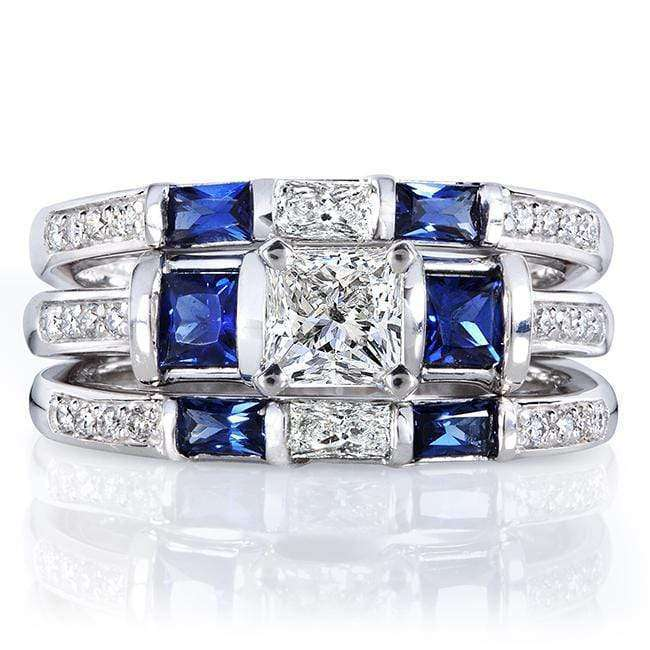 Kobelli Blue Sapphire and Diamond Bridal Ring Set 1 3/5 Carat (ctw) in 14k White Gold (3 Piece Set)