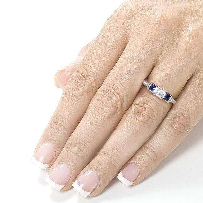 Kobelli Blue Sapphire and Diamond Engagement Ring 7/8 Carat (ctw) in 14k White Gold