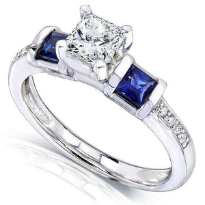 Blue Sapphire and Diamond Engagement Ring 1 1/6 Carat (ctw) in 14k White Gold