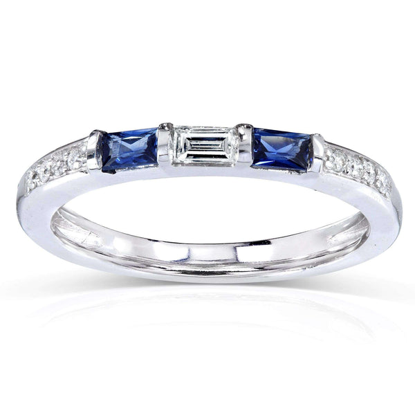 Kobelli Blue Sapphire and Diamond Band 1/3 CTW In 14k White Gold