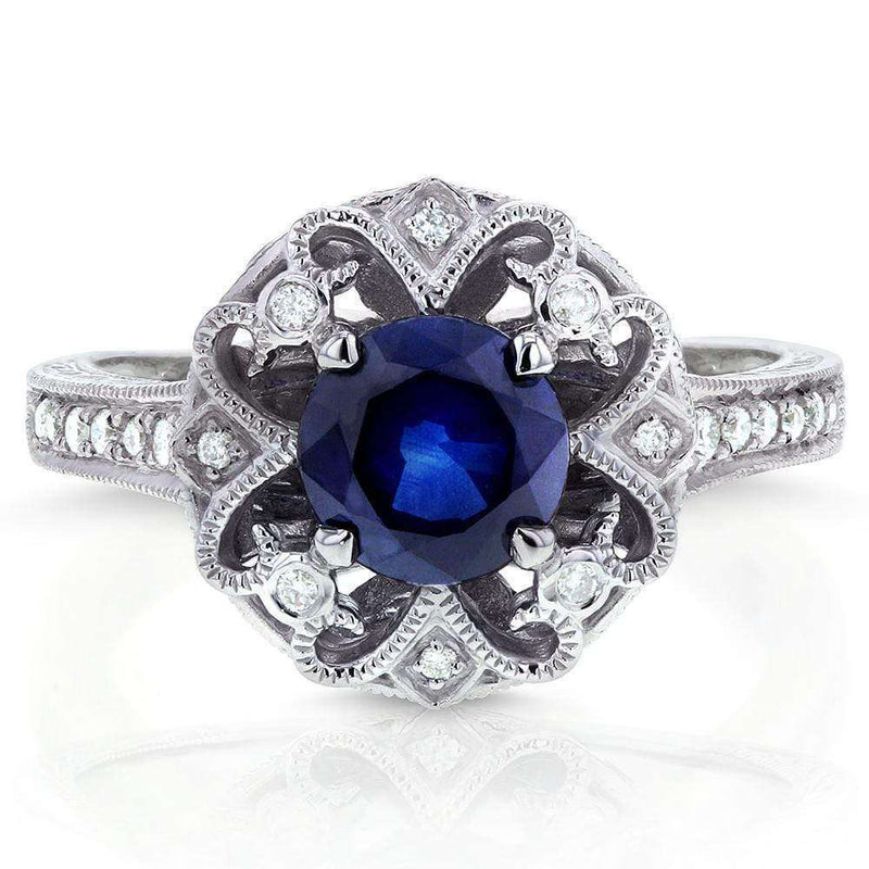 Kobelli Antique Round Blue Sapphire and Diamond Vintage Style Engagement Ring 1 1/2 Carat (ctw) in 14k White Gold
