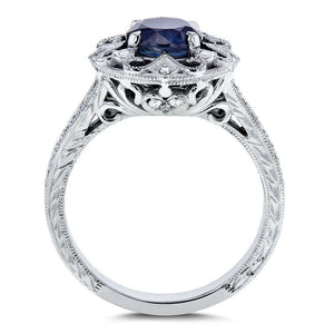 Antique Round Blue Sapphire and Diamond Vintage Style Engagement Ring 1 1/2 Carat (ctw) in 14k White Gold