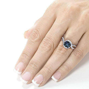 Blue and White Diamond Ring 3/4 Carat (ctw) in 14k White Gold